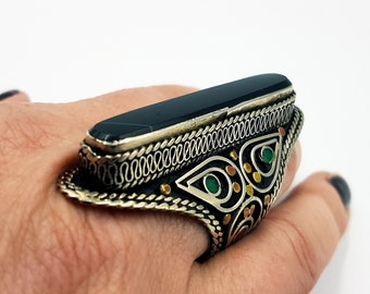 Vintage Black Agate Ring