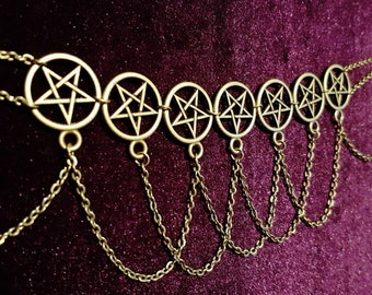 Lucky 7 PentaChoker - occult goth gothic pentagram necklace lucky number 7