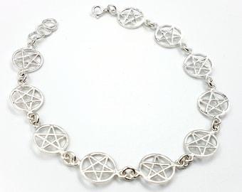 Sterling Silver Pentagram Bracelet (925)