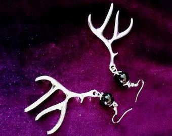 Black Jade Antlers Earrings