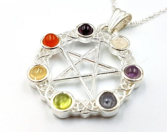Chakra Pentagram Necklace