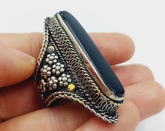 Vintage Black Agate Ring