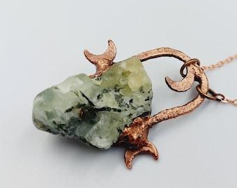 Electroformed Triple Moon Necklace with Prehnite Crystal (Copper)