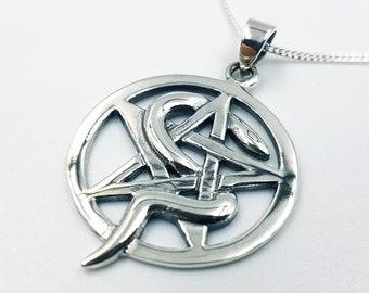 Sterling Silver Serpent Pentagram Pendant (925)