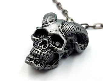 Horned Skull Pendant Necklace (2 Styles)