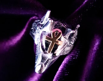 Anubis Ring- occult egyptian god of decay embalming funerals ankh gothic egypt jackal