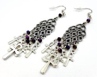 Elegant Gothic Ankh Earrings