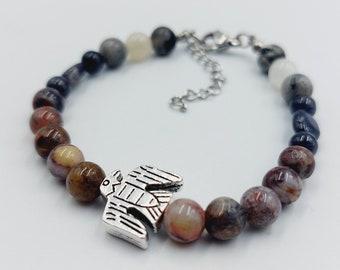 Eagle Totem Bracelet with Labradorite, Moonstone, Pietersite & Iolite Crystals