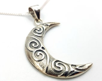 Sterling Silver Celtic Moon Necklace (925)