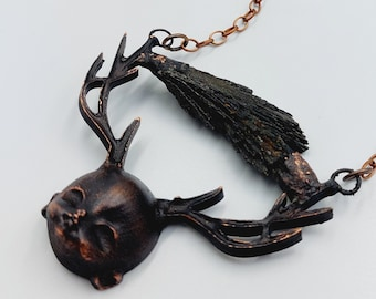 Rosemary's Baby Necklace with Black Kyanite Crystal (Electroformed Copper)
