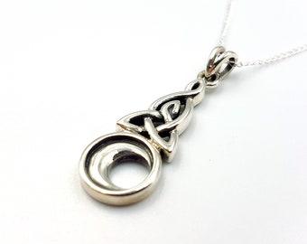 Sterling Silver Celtic Moon Pendant (925)