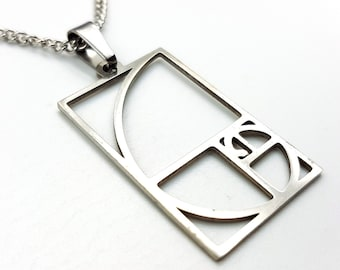 Golden Ratio Fibonacci Pendant (Stainless Steel)