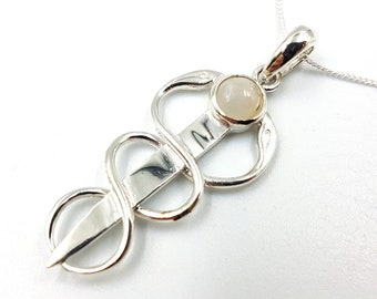 Sterling Silver Entwined Serpents Moonstone Pendant (925)