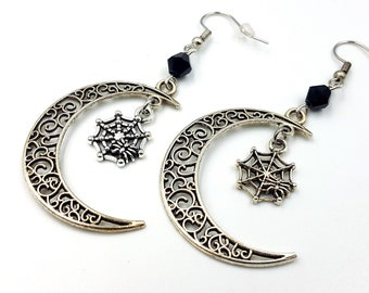 Crescent Moon Goth Spider Earrings