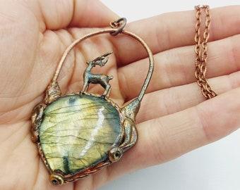 Electroformed Stag Labradorite Necklace (Copper)