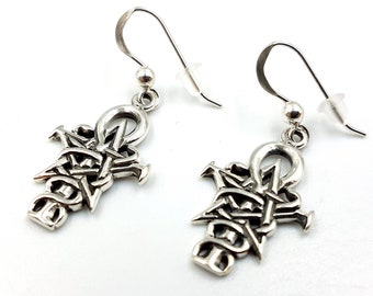 Sterling Silver Ankh Pentagram Caduceus Earrings (925)