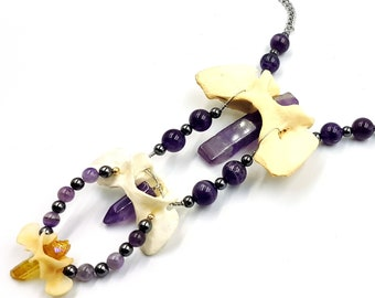 Amethyst Crystal Infused Triple Coyote Bone Necklace
