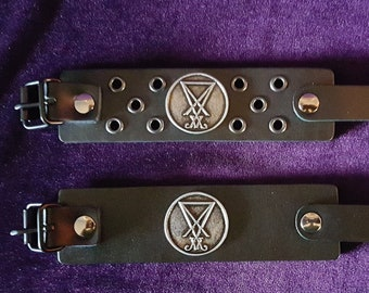 Leather Sigil of Lucifer Bracelet (2 Styles)