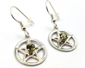 Sterling Silver Pentagram Earrings with Moldavite Crystal