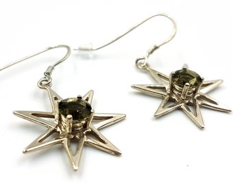 Sterling Silver Heptagram Earrings with Moldavite Crystal (Septagram / Pleiadian Star)