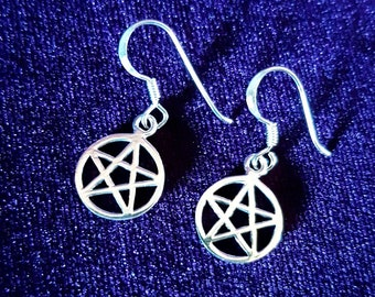 Sterling Silver Pentagram Earrings - occult silver 925 gothic wicca pentacle earrings