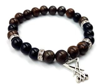Luciferian Sigil of Lucifer Rainbow Obsidian & Bronzite Bracelet