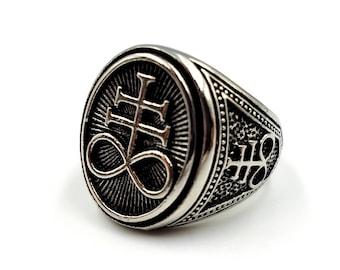 Satanic Cross   Brimstone   Leviathan Ring (Stainless Steel)