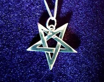 Sterling Silver Inverted Pentagram Pendant (925)