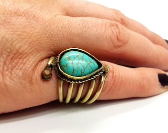 Vintage Antique Turquoise Ring (Droplet)