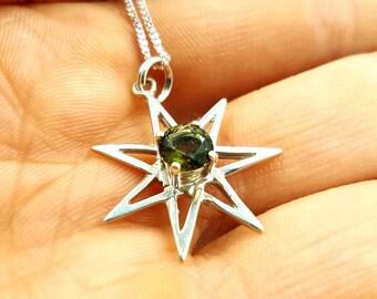 Sterling Silver Heptagram Pendant with Moldavite Crystal (Septagram) -  pleiadian Inanna star heptagram moldavite crystal meteorite