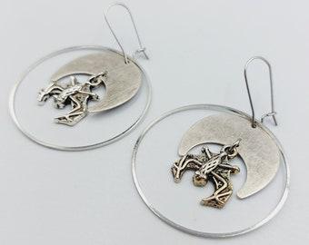 Circular Crescent Moon Gothic Bat Earrings