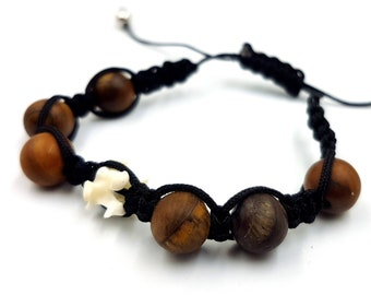 Snake Vertebrae Bone Bracelet with Matt Tigereye Gemstones