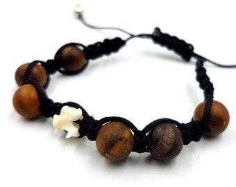 Snake Vertebrae Bone Bracelet with Matt Tigereye Gemstones