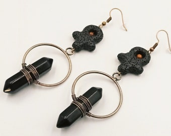 Onyx Crystal Lavastone Ankh Earrings