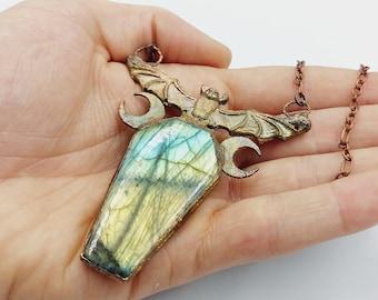 Electroformed Vampire Coffin Bat Necklace with Labradorite Crystal (Copper)