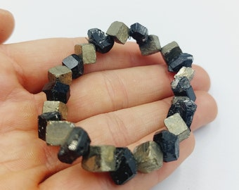 Black Tourmaline & Pyrite Bracelet