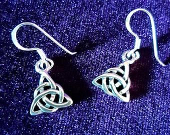Mini Sterling Silver Triquetra Earrings - 925