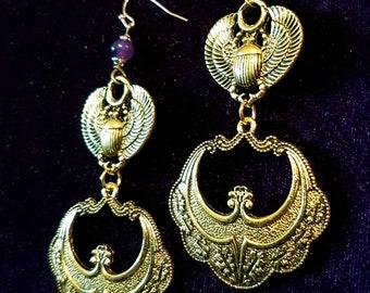 Scarab Amethyst Earrings