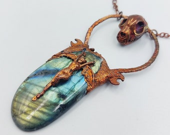 Electroformed Winged Lilith Necklace with Cat Skull and Labradorite Crystal (Copper)