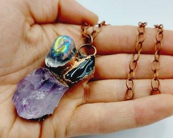 Electroformed Crystal Cluster Necklace with Amethyst, Onyx & Angel Aura Quartz (Copper)