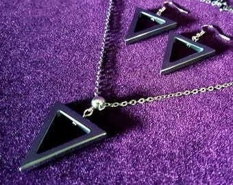 Triangle Hematite Jewellery Set - Victorian gothic occult hematite gemstone necklace & earrings
