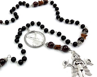 Lilith Snake Bone Rosary with Luciferian Ouroboros