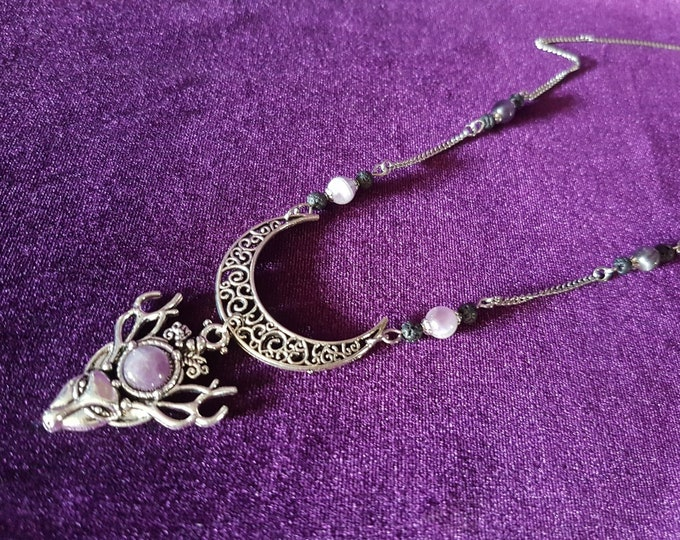 Pan Horned God Amethyst Necklace - Gothic crescent moon antler Deer wicca cernunnos Pan pagan witch magic  fantasy amethyst