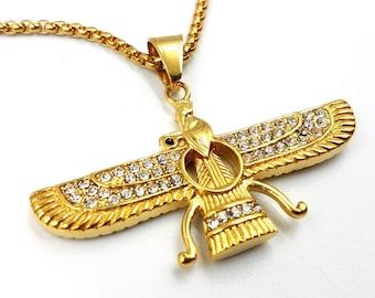 Zoroastrian Pendant (Stainless Steel - Gold Colour)