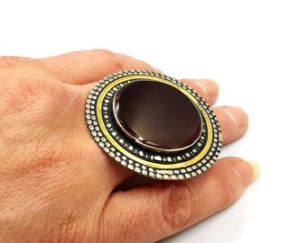 Vintage Dark Brown Agate Ring