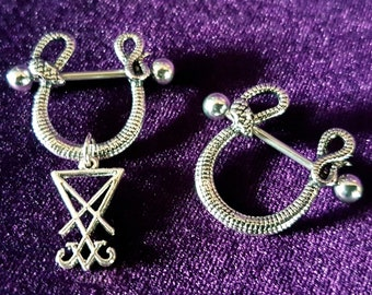 Serpent Nipple Piercing (Sigil of Lucifer or Clean)