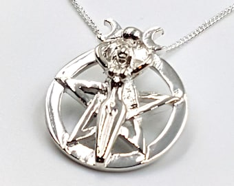 Sterling Silver Hecate Triple Moongoddess Pentagram Necklace (925)