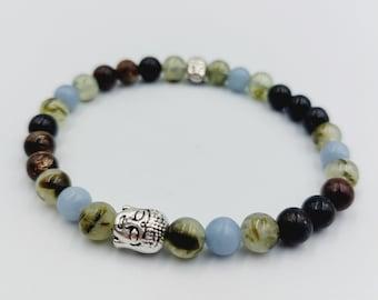 Angelite Crystal Bracelet with Prehnite & Crystal Mountain Quartz