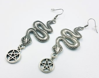 Serpent Inverted Pentagram Earrings