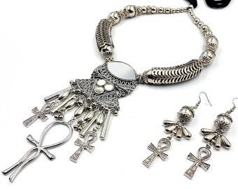 Lemurian Egyptian Ankh Necklace & Earrings (Set)